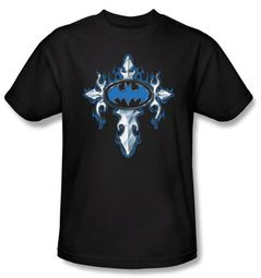 Batman T-Shirt - Gothic Steel Logo Adult Black Tee