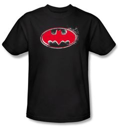Batman T-Shirt - Hardcore Noir Bat Logo Adult Black Tee