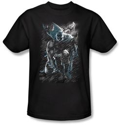 Batman T-Shirt - In The Rain Adult Black Tee
