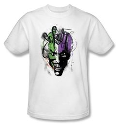Batman T-Shirt - Joker Airbrush Adult White Tee