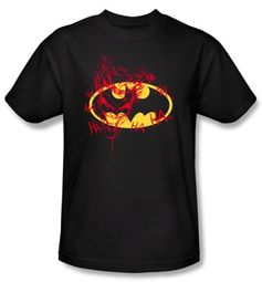 Batman T-Shirt - Joker Graffiti Adult Black Tee
