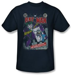 Batman T-Shirt - Jokers Back in Town Adult Navy Tee