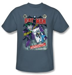 Batman T-Shirt - Jokers Back in Town Adult Slate Blue Tee