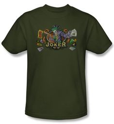 Batman T-Shirt - King Of Crazy Joker Adult Military Green Tee