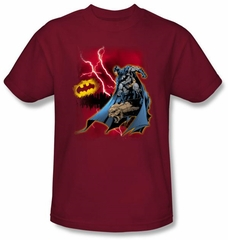 Batman T-Shirt - Lightning Strikes Adult Cardinal Red Tee