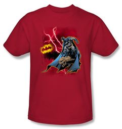 Batman T-Shirt - Lightning Strikes Adult Red Tee