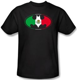 Batman T-Shirt - Mexican Flag Shield Adult Black Tee