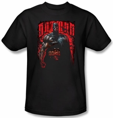 Batman T-Shirt - Red Knight Logo Adult Black Tee