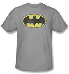 Batman T-Shirt - Retro Bat Logo Distressed Adult Silver Grey Tee
