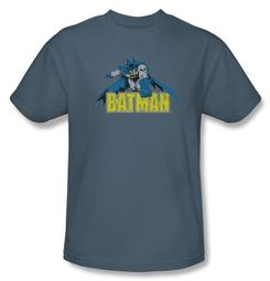 Batman T-Shirt - Retro Distressed Adult Dusk Blue Tee