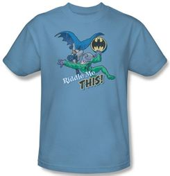 Batman T-Shirt - Riddle Me This Adult Carolina Blue Tee