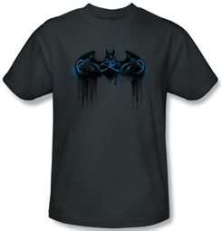 Batman T-Shirt - Run Away Adult Charcoal Gray Tee