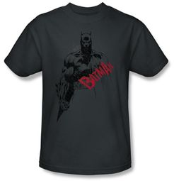 Batman T-Shirt - Sketch Bat Red Logo Adult Charcoal Grey Tee