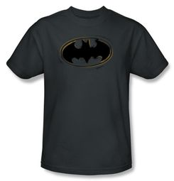 Batman T-Shirt - Spray Paint Logo Adult Charcoal Tee