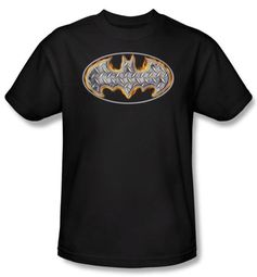 Batman T-Shirt - Steel Fire Shield Adult Black Tee