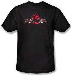 Batman T-Shirt - Steel Flames Logo Adult Black Tee