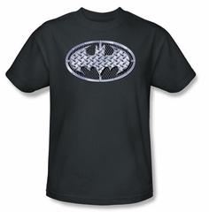 Batman T-Shirt - Steel Mesh Shield Adult Charcoal Grey Tee