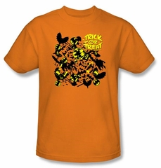 Batman T-Shirt - Trick Or Treat Collage Adult Orange Tee