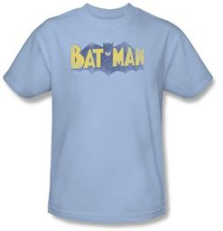 Batman T-Shirt - Vintage Logo Adult Light Blue Tee