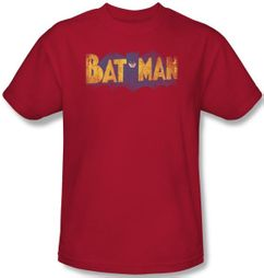 Batman T-Shirt - Vintage Logo Adult Red Tee