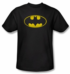 Batman T-Shirt - Washed Bat Logo Adult Black Tee