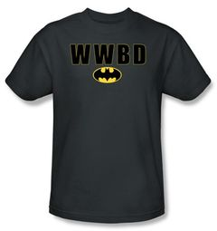 Batman T-Shirt - WWBD Bat Logo Adult Charcoal Grey Tee