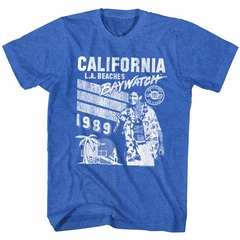 Baywatch Shirt L.A. Beach 1989 Heather Blue T-Shirt