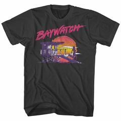 Baywatch Shirt Lifeguard Station Sunset Black T-Shirt
