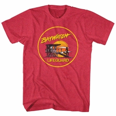 Baywatch Shirt Lifeguard Sunset Red Heather T-Shirt