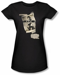 Betty Bettie Page Juniors Shirt Newspaper And Lace Black T-shirt
