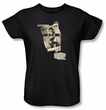 Betty Bettie Page Ladies Shirt Newspaper And Lace Black T-shirt
