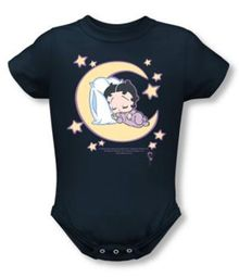 Betty Boop Baby Romper Infant Creeper Sleepy Time Navy Blue
