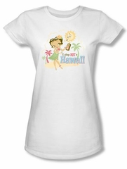 Betty Boop Juniors Shirt Hot In Hawaii White T-shirt