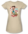 Betty Boop Juniors T-shirt Handle With Care Cream Tee