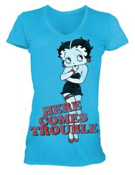 Betty Boop Juniors T-shirt Here Comes Trouble Turquoise V-neck Tee