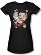 Betty Boop Juniors T-shirt Kiss Black Tee