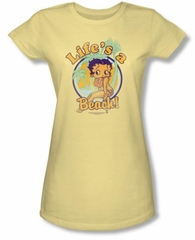 Betty Boop Juniors T-shirt Life's A Beach Banana Tee