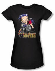 Betty Boop Juniors T-shirt Not Your Average Mother Black Tee