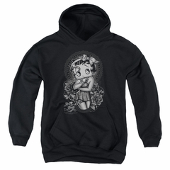 Betty Boop Kids Hoodie Fashion Roses Black Youth Hoody