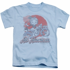 Betty Boop Kids Shirt All American Biker Light Blue T-Shirt