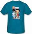 Betty Boop Kids T-shirt Comic Strip Youth Turquoise Tee Shirt