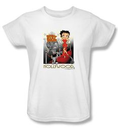 Betty Boop Ladies T-shirt Hollywood White Tee Shirt