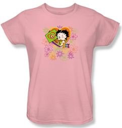 Betty Boop Ladies T-shirt Peace Love And Boop Pink Tee Shirt
