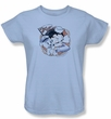 Betty Boop Ladies T-shirt S.s. Vintage Light Blue Tee Shirt
