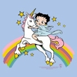 Betty Boop Ladies T-shirt Unicorn And Rainbows Light Blue Tee Shirt