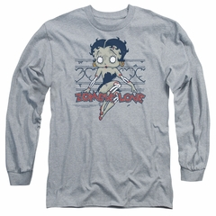 Betty Boop Long Sleeve Shirt Zombie Pinup Athletic Heather Tee T-Shirt