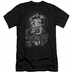 Betty Boop Slim Fit Shirt Fashion Roses Black T-Shirt