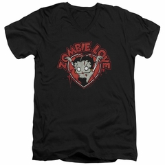 Betty Boop Slim Fit V-Neck Shirt Heart You Forever Black T-Shirt