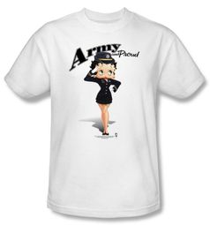 Betty Boop T-shirt Army Boop Adult White Tee