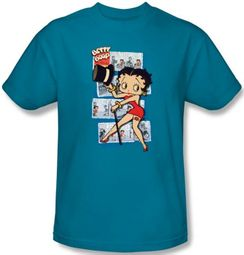Betty Boop T-shirt Comic Strip Adult Turquoise Tee Shirt